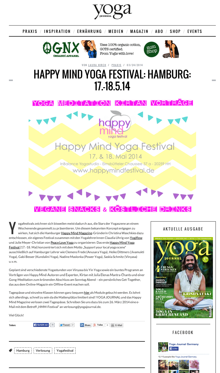 Happy Mind im Yoga Journal