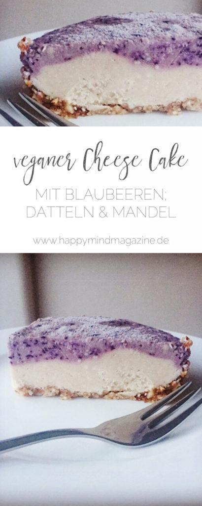 Köstlicher, veganer Käsekuchen aus Mandeln, Datteln, und Blaubeeren. Das Rezept ist ganz einfach und kommt ohne backen aus! #gesundbacken #gesunderezepte
