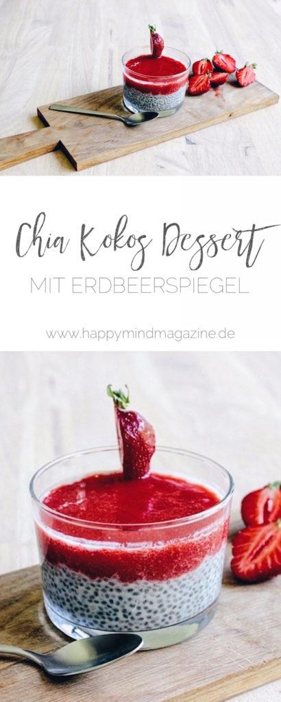 Rezept für einen sommerlichen Chia-Kokos-Pudding mit Erdbeerspiegel