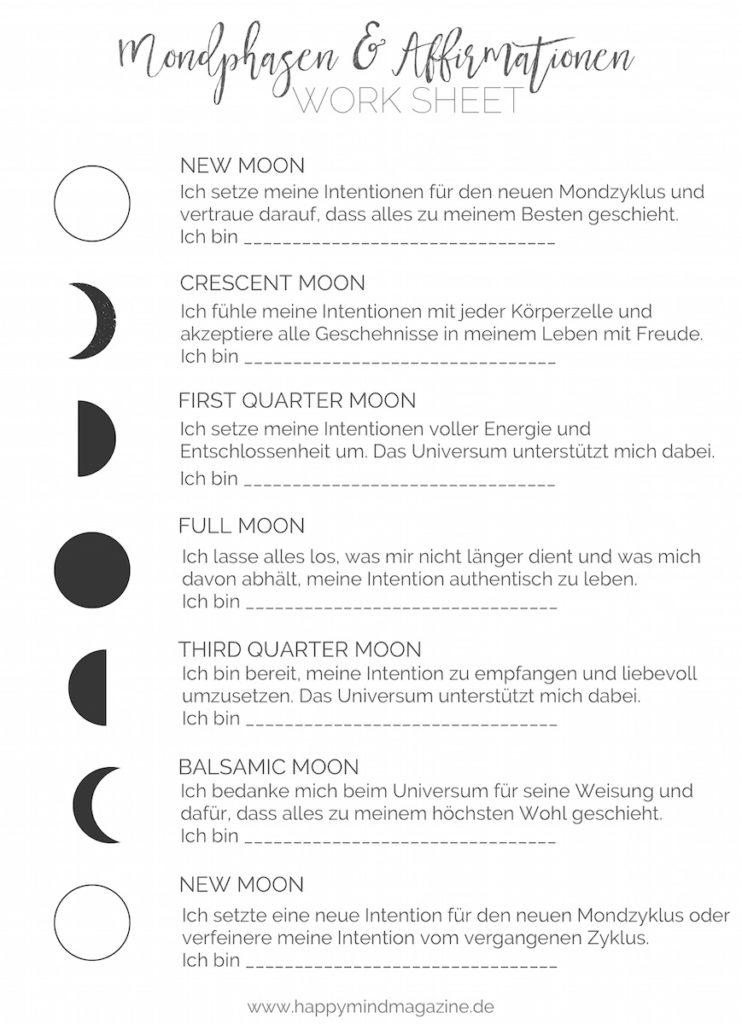 Du willst die verschiedenen Mondphasen begleiten? Dann benutze dieses Worksheet!